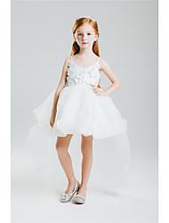 Princess Floor-length Flower Girl Dress - Cotton Crepe Sleeveless Jewel with Beading Bow(s)