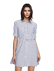 Women's Going out Casual/Daily Cute Shift Dress,Striped Notch Lapel Above Knee ½ Length Sleeve Gray Cotton Polyester Fall Mid Rise