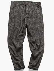Hommes Petites Tailles Ample Mince Chino Pantalon,Vintage simple Décontracté / Quotidien Couleur Pleine Taille Normale Elasticité Coton