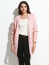 Women's Going out / Casual/Street chic Regular Cardigan,Solid Blue / Pink V Neck Long Sleeve Cotton Spring / Fall Medium