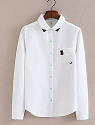 Women's Casual/Daily Simple Fall Shirt,Solid Classic Collar Long Sleeve White Cotton Medium