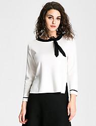 Normal Pullover Femme Sortie Décontracté / Quotidien Travail Sexy Chic de Rue Sophistiqué,Couleur Pleine Blanc Noir Col ArrondiManches