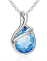 Femme Pendentif de collier Cristal Argent sterling Cristal Pendant Adorable Inspiration Bleu Bijoux PourMariage Soirée Anniversaire