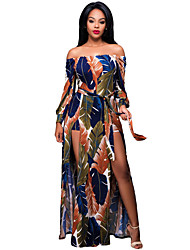 Women's Off The Shoulder Floral Printed Romper Maxi Dress