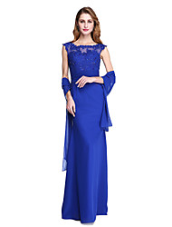 LAN TING BRIDE Sheath / Column Mother of the Bride Dress - Beautiful Back Wrap Included Floor-length Sleeveless Chiffon withAppliques