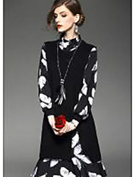 Women's Going out Casual/Daily Formal Sophisticated Sheath Dress,Floral Turtleneck Knee-length Long Sleeve Black Polyester Spring Summer