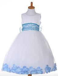 Princess Tea-length Flower Girl Dress - Tulle Polyester Sleeveless Jewel with Lace Sash / Ribbon
