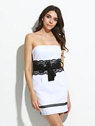 strapless rendas splicing bodycon das mulheres mini vestido