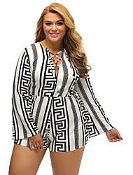 Women's Lace up Plus Multicolor Zigzag Print Deep V Lace-up Long Sleeve Playsuit