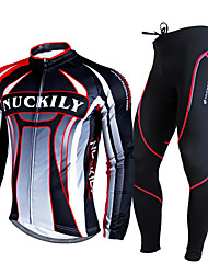 Nuckily Cycling Jersey with Tights Men's Long Sleeves Bike Clothing Suits Thermal / Warm Breathable Comfortable 3D Pad Polyester Fleece