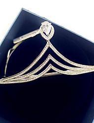Women's Brass Cubic Zirconia Headpiece-Wedding Special Occasion Casual Tiaras 1 Piece