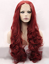 Heat Resistant Synthetic Lace Front Wigs Loose Wave Hair Dark Wine Color Synthetic Hair Fiber Wig For Fashion Woman