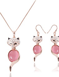 Women Wedding Party Pink Opal Fox Inlay Rhinestones Pendant Necklace Earrings Jewelry Set Birthday Gifts