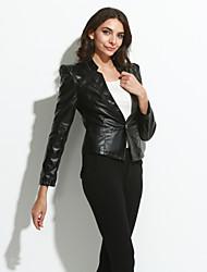 Женский На каждый день Весна Осень Кожаные курткиУличный стиль Однотонный Красный Черный Длинный рукав,Полиуретановая