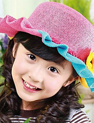 Girl's Fashion Cotton Summer Going out/Casual/Daily Rainbow Sand Beach Flower Headgear Weave Straw Hat Children Cap
