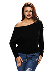 Women's Black Off Shoulder Lightweight Chunky Sweater