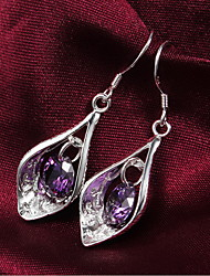 Drop Earrings Jewelry Women Wedding Party Zircon Silver Plated 1 pair As Per Picture