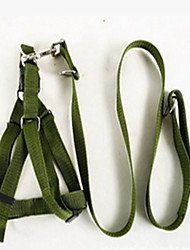 Dog Harness Adjustable/Retractable Solid Green Fabric