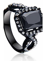 Jewelry Women Alloy Zircon Women Black Square Ring