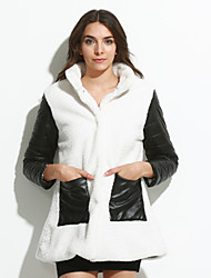 Women's Plus Size / Casual/Daily / Party/Cocktail Simple Fur CoatSolid Stand Long Sleeve Fall / Winter Red /