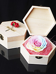 Rose Soap Flowers in a Heart or Hexagon Wood Box Handmade Birthday Present Valentine's Day Gift for Girlfriend Color Random