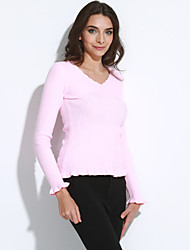 Women's Casual/Daily Simple Regular Cashmere,Solid Pink / Red / White / Black / Gray / Green V Neck