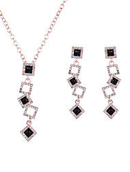 Women Wedding Bridal Classic Gift Hollow Texture Full Rhinestone Geometric Square Earrings Necklace Set