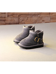 Boys' Baby Boots Snow Boots Leather Winter Casual Outdoor Snow Boots Flat Heel Gray Camel Under 1in