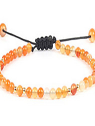 Women's Strand Bracelet Friendship Adjustable Beaded European Gemstone Agate Gold Plated Drop Orange Sliver Blue Jewelry For Daily Casual