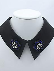 Modische Halsketten Saphir Kragen Schmuck Alltag Normal Blumenform Blumen Stil Stoff Damen 1 Stück Geschenk Wie in der Abbildung angezeigt