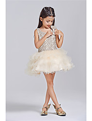 Princess Knee-length Flower Girl Dress - Cotton Lace Sleeveless Jewel with Bow(s) Lace