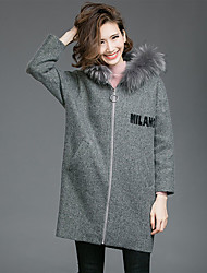 Women's Going out Casual/Daily Simple Coat,Letter Hooded Long Sleeve Spring Winter Black Gray Wool Thick