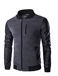 Men's Casual/Daily Simple Jackets,Color Block Stand Long Sleeve Fall Winter Black Gray Cotton Medium