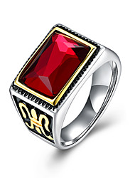 Punk Real stainless steel Ruby Ring Woman Men's big red stones Finger Rings High Quality Punk Real Square Ruby Ring TGR110