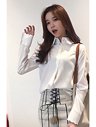 Women's Casual/Daily Formal Cute Spring Shirt,Solid Shirt Collar Long Sleeve Pink White Polyester Medium