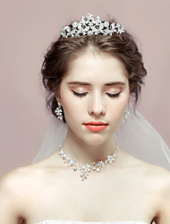 Jewelry 1 Necklace 1 Pair of Earrings 1 Hair Jewelry Rhinestone Wedding Party Rhinestone 1set Women As Per Picture Wedding Gifts