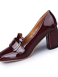 Women's Heels Spring Fall Other Comfort PU Outdoor Office & Career Casual Chunky Heel Buckle Others Black Red Light Brown Walking