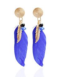 Drop Earrings Hoop Earrings Earrings Set Jewelry Women Party Daily Casual Alloy Feather 1 pair Black Blue
