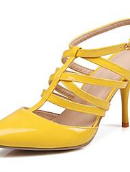 Damen-High Heels-Kleid Lässig Party & Festivität-Lackleder-Stöckelabsatz-T-Riemen Fersenriemen D'Orsay und Zweiteiler Gladiator-Schwarz