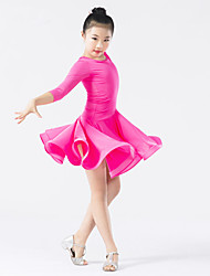 Latin Dance Dresses Children's Performance Spandex Polyester Cascading Ruffle Draped 1 Piece Long Sleeve Natural Dress