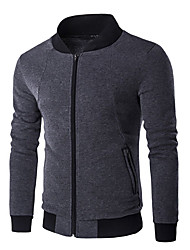 Men's Going out Casual/Daily Sports Active Jackets,Solid Stand Long Sleeve Spring Fall Black Gray Cotton Medium