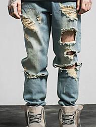 Masculino Reto Jeans Chinos Calças-Cor Única Casual Vintage Cintura Baixa Zíper Raiom Micro-Elástico Todas as Estações