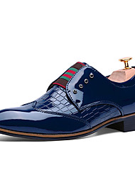 Men's Oxfords Spring Fall Comfort Bullock shoes Patent Leather Casual Flat Heel Button Gore Black Blue Burgundy Walking