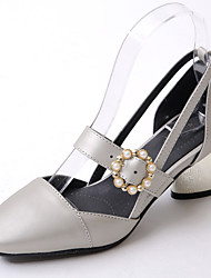 Women's Heels Spring Summer Fall Club Shoes PU Wedding Party & Evening Dress Chunky Heel Pearl Buckle Pink White Silver
