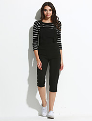 Women's Solid Black Jumpsuits,Simple Strap Sleeveless