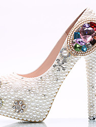 Women's Heels Spring Summer Fall Winter Comfort Novelty PU Wedding Party & Evening Platform Jewelry HeelRhinestone Crystal Pearl