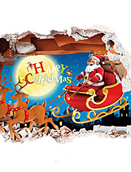 3D Christmas Wall Stickers Santa Claus Stickers MOON  Deer Decals for Family Home Decor