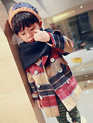 Boy's Cotton Fashion British Style Spring/Fall/Winter Going out/Casual/Daily Long Sleeve Kid Thicken Plaid Jacket Children Overcoat