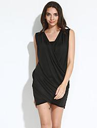 Robe Femme SoiréeCouleur Pleine Mini Sans Manches Noir Polyester Eté Micro-élastique Fin