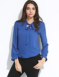 Women's Solid Blue / Red / White / Black Shirt , V Neck Long Sleeve